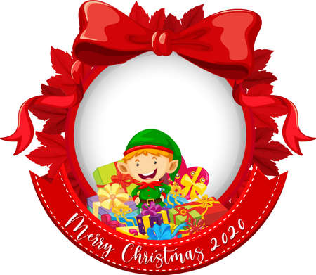 Red ribbon frame with Merry Christmas 2020 font logo and cute elf cartoon character illustration 免版税图像 - 161313869