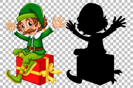 Happy elf sitting on present box illustration 矢量图像