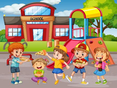 Children holding their food in the park scene illustration