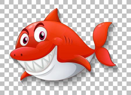 Shark smiling cartoon character on transparent background illustration
