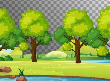 Blank nature scene landscape on transparent background illustration