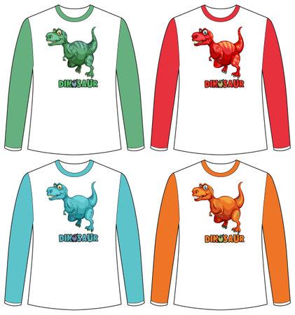 Set of different colour dinosaur screen on long sleeve t-shirt illustration