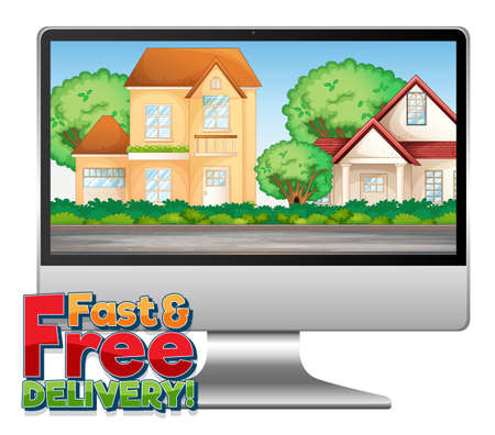 Computer with fast and free delivery logo illustration 免版税图像 - 161313801