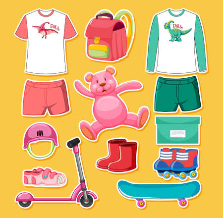 Set of pink and green color toys and clothes isolated on yellow background illustration 免版税图像 - 161313802