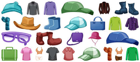 Set of fashion outfits and accessories on white background illustration 矢量图像