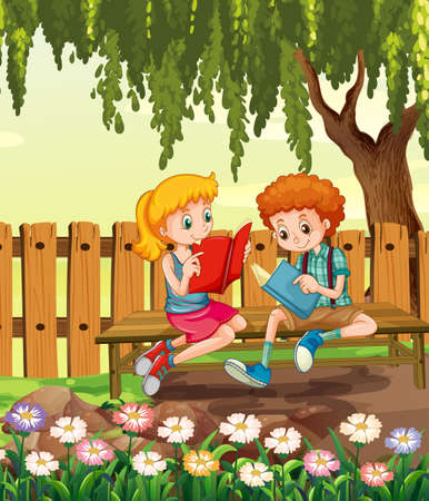 Young boy and girl reading book in the garden scene illustration 矢量图像