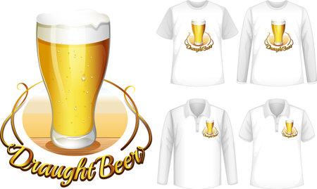 Mock up shirt with beer logo illustration 免版税图像 - 161313807