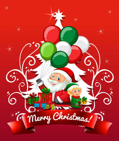 Merry Christmas and happy new year greeting card with Santa Claus illustration