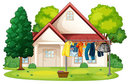 Many clothes hanging on a line outside the house scene illustration