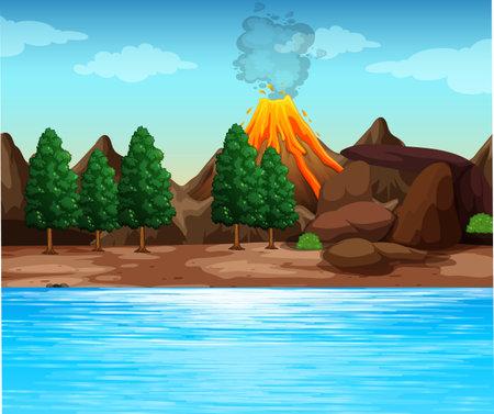 Volcanic eruption outdoor scene background illustration 矢量图像