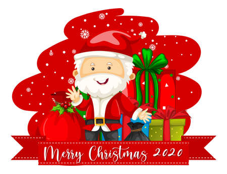 Merry Christmas 2020 font banner with Santa Claus cartoon character illustration 矢量图像