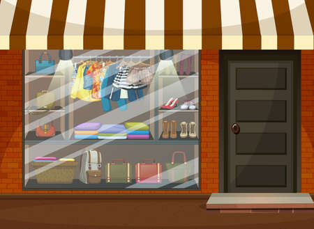 Front of clothing store showcase with clothes and accessories illustration 免版税图像 - 161313813