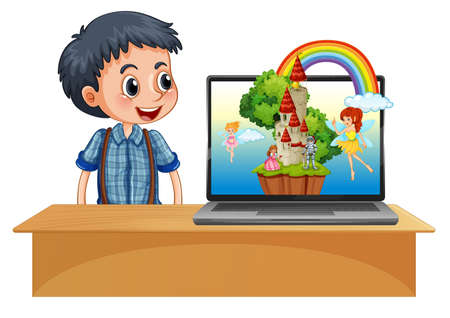 Boy next to laptop on the desk with fantasy background illustration