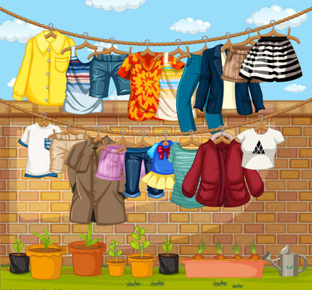 Clothes hanging on clotheslines outdoor scene illustration