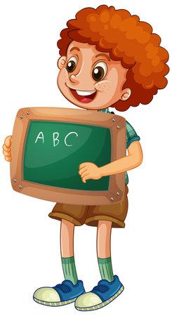 Happy boy holding blackboard illustration