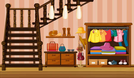 Clothes hanging in wardrobe with many accessories in the house scene illustration