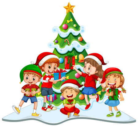Group of children wearing Christmas costume on white background illustration 免版税图像 - 161313755