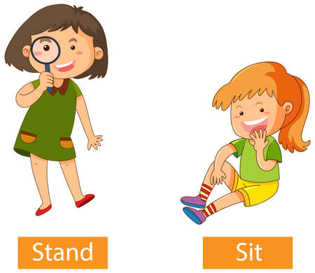 Opposite verb words with stand and sit illustration