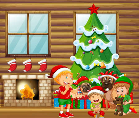 Christmas indoor scene with many children and cute dogs illustration Vetores