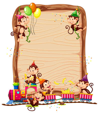 Blank wooden board template with monkeys in party theme isolated illustration