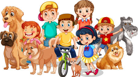Group of children with their dogs on white background illustration