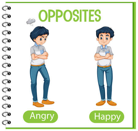 Opposite words with angry and happy illustration Vecteurs
