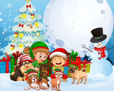 Christmas outdoor scene with many children and cute dogs illustration Illusztráció