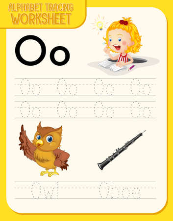 Alphabet tracing worksheet with letter O and o illustration
