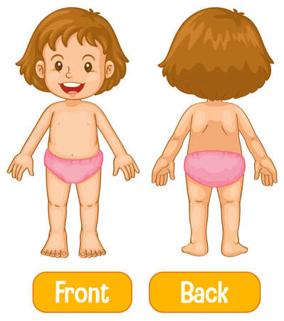 Opposite words with front and back of little girl illustration