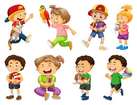 Set of different kid playing with their pets cartoon character isolated on white background illustration Vetores