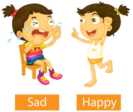Opposite adjectives words with happy and sad illustration