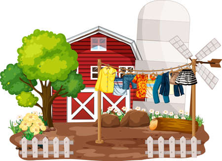 Front of house farm with clothes hanging on clotheslines illustration
