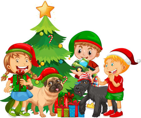 Group of children with their dog wearing Christmas costume on white background illustration Illusztráció