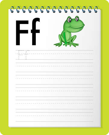 Alphabet tracing worksheet with letter F and f illustration