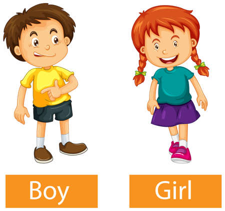 Opposite adjective words with boy and girl on white background illustration