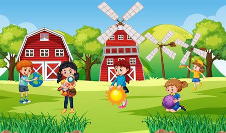 Scene with many children in the farm illustration Vetores