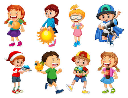Set of different kid playing with their toys cartoon character isolated on white background illustration Vetores
