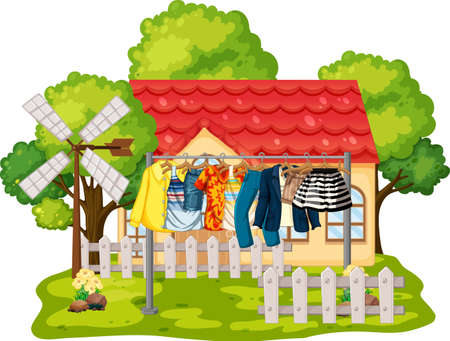 Front of house with clothes hanging on clotheslines illustration