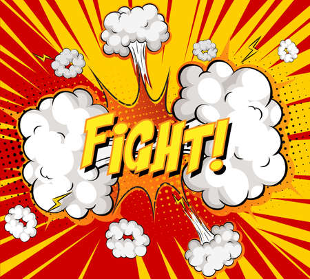 FIGHT text on comic cloud explosion on rays background illustration