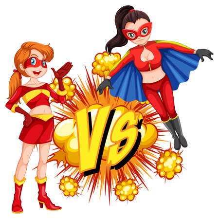 Two superheroes fighting each other illustration