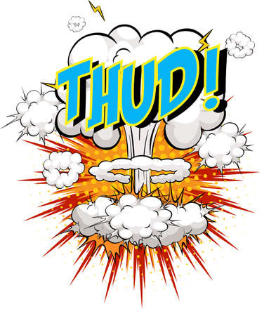 Word Thud on comic cloud explosion background illustration