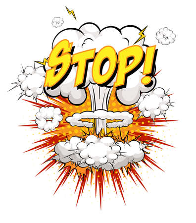 STOP text on comic cloud explosion isolated on white background illustration