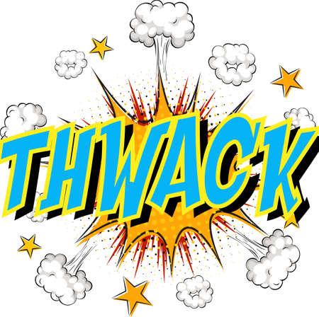 Word Thwack on comic cloud explosion background illustration