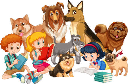 Group of children with their dogs illustration Vetores