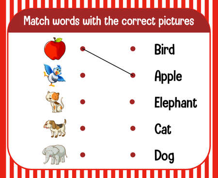 Word to picture matching worksheet for children illustration 矢量图像