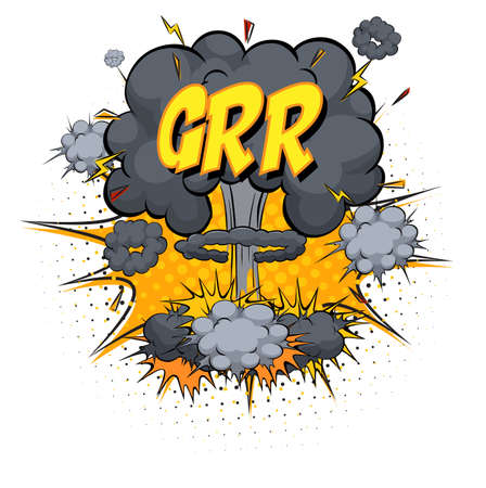 GRR text on comic cloud explosion isolated on white background illustration