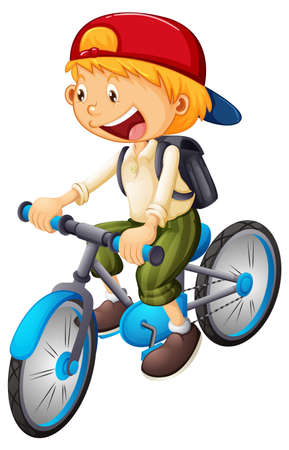 A boy riding a bicycle cartoon character isolated on white background illustration