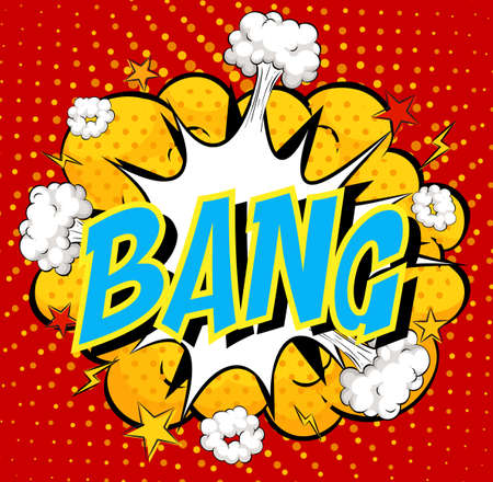 Word Bang on comic cloud explosion background illustration Ilustração