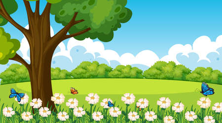 Park outdoor scene with flower field and a big tree illustration 矢量图像