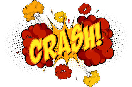 Word Crash on comic cloud explosion background illustration
